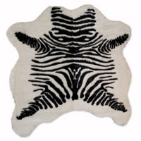 Luxe Faux Fur Hide 4-Foot 3-Inch x 5-Foot Rug/Throw in Zebra Black/White