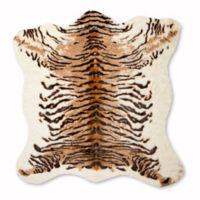 Luxe Faux Fur Hide 4-Foot 3-Inch x 5-Foot Rug/Throw in Tiger