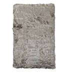 Luxe Hudson Faux Fur Sheepskin 3' x 5' Shag Rug in Grey