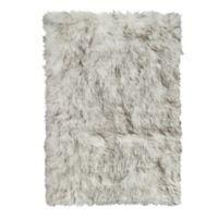 Luxe Hudson Faux Fur Sheepskin 3-Foot x 5-Foot Shag Rug/Throw in Gradient Grey