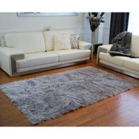 Luxe Hudson Faux Fur Sheepskin 5-Foot x 8-Foot Shag Rug/Throw in Grey