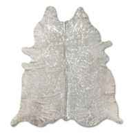 Natural Rugs Scotland Cowhide 6-Foot x 7-Foot Area Rug in Grey and Silver