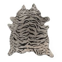 Natural Rugs Togo Cowhide 6-Foot x 7-Foot Area Rug in Tiger Black on Grey