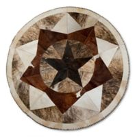 Natural Stich Cowhide 5-Foot Round Area Rug in Tricolore