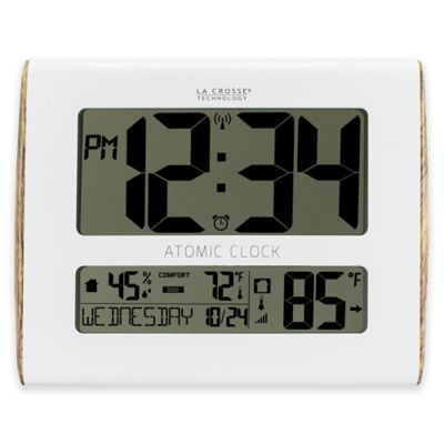 la crosse technology wood accent atomic digital wall clock with inoutdoor temperature in white