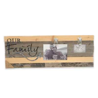 "Sweet Bird & Co. ""Our Family"" 22-Inch x 8-Inch 2-Clip Picture Frame"