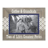 """""""Coffee and Grandkids"""" 4-Inch x 6-Inch Etched Wood Frame"""