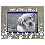 """Furry and Fabulous"" 4-Inch x 6-Inch Etched Wood Frame"