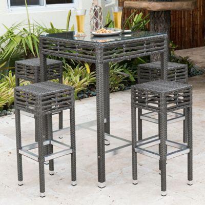 Panama Jack Graphite 5 Piece Outdoor Pub Set In Grey