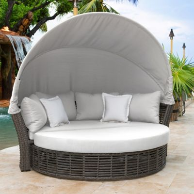 Panama Jack Graphite Outdoor Canopy Daybed In Grey