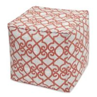 Madison Park Daven 18-Inch Outdoor Square Pouf in Coral