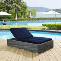 Modway Summon Outdoor Wicker Double Chaise Lounge in Sunbrella® Navy