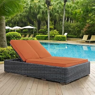 Modway Summon Outdoor Wicker Double Chaise Lounge in Sunbrella® Tuscan : chaise patio cushions - Sectionals, Sofas & Couches