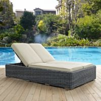 Modway Summon Outdoor Wicker Double Chaise Lounge in Sunbrella® Antique Beige