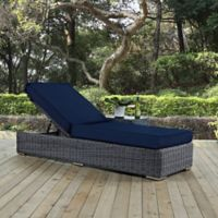 Modway Summon Outdoor Wicker Chaise Lounge in Sunbrella® Navy