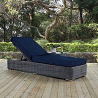 Modway Summon Outdoor Wicker Chaise Lounge In Sunbrella Navy