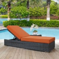 Modway Summon Outdoor Wicker Chaise Lounge in Sunbrella® Tuscan