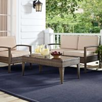 Crosley Lauderdale 4-Piece All-Weather Wicker Conversation Set in Sand