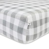 Burt's Bees Baby® Buffalo Check Organic Cotton Fitted Crib Sheet in Fog