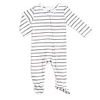 aden® by aden + anais® Size 3-6M Zip-Front Stripe Footie in Grey/White