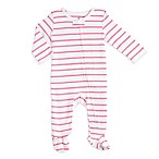 aden® by aden + anais® Size 0-3M Zip-Front Stripe Footie in White/Pink