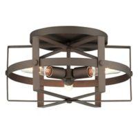 Varaluz® Reel 3-Light Flush Mount Ceiling Light in Rustic Bronze