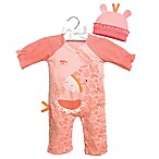 C.R. Gibson® Size 0-3 M Little Fair 2-Piece Paisley Giraffe Coverall and Hat Set in Pink
