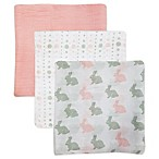Rose & Blu™ 3-Pack Soft and Breathable Bunny Muslin Swaddle Blankets in Pink