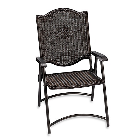 All Weather Wicker Folding Chair Set Of 2 Bed Bath
