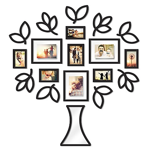Wallverbs™ Open Leaf Tree 19-Piece Picture Frame Set in Black - Bed ...