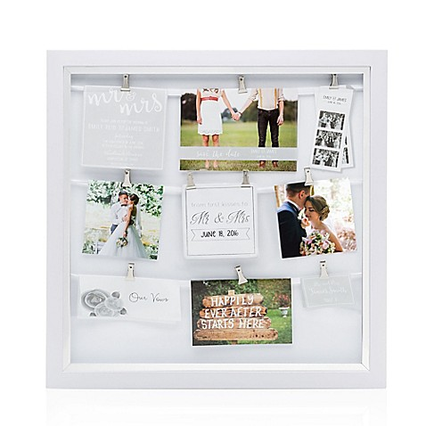 Pearhead 174 Mr Amp Mrs 9 Photo Clip Collage Frame In White