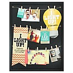 Marrone Illuminated LED 16-Photo Clothespin Collage Picture Frame in Satin Black