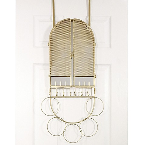 Over The Door Mirror Amp Jewelry Organizer In Champagne