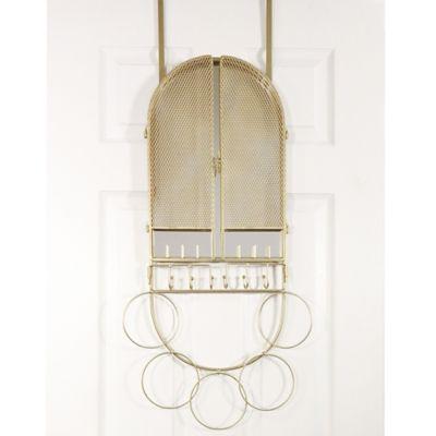 Over The Door Mirror U0026 Jewelry Organizer In Champagne