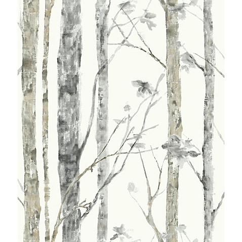 Roommates birch trees peel stick wall d cor in white - Birch tree wallpaper peel and stick ...