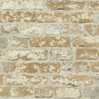 "Roommates ""Stuccoed Brick"" Peel & Stick Wall Décor in Brown"