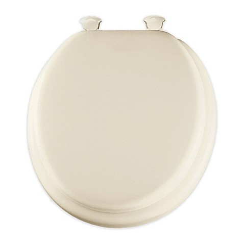 Round Padded Toilet Seat With Easy Clean Hinge In Biscuit
