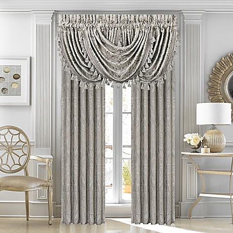 J Queen New York Corinna Window Curtain Panels And Valance In Silver Bed Bath Beyond