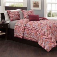 Zanzibar Reversible Full/Queen Duvet Cover Set in Burgundy/Orange