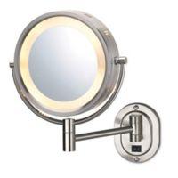 Jerdon® 8-Inch Round Lighted Wall Mount Mirror in Nickel