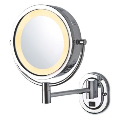JerdonR 8 Inch Round Lighted Wall Mount Mirror In Chrome