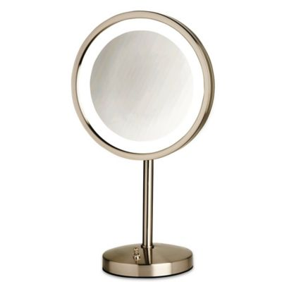 Jerdon® Tabletop LED Lighted Vanity Mirror In Nickel