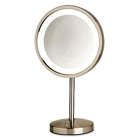 tabletop led lighted vanity mirror in nickel bed bath beyond. Black Bedroom Furniture Sets. Home Design Ideas