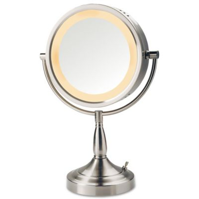 Jerdon® 1x/7x LED Tabletop Vanity Mirror In Nickel