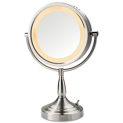 Jerdon 174 7x 1x Halo Lighted Tabletop Mirror In Nickel Bed
