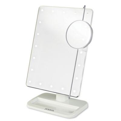 Jerdon® 1x/10x Portable LED Tabletop Mirror In White