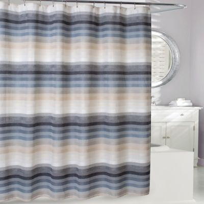 Landon Shower Curtain In Natural Blue