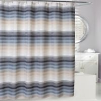 Landon Shower Curtain in Natural/Blue