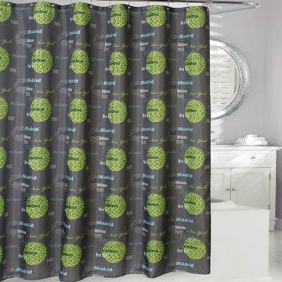 Cosmopolitan Cities Shower Curtain in Grey/Green - Buy Grey Shower Curtain From Bed Bath & Beyond