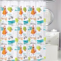 Fifties Tropical Shower Curtain in White